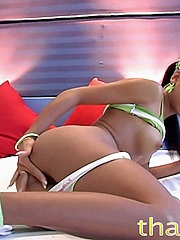 Thainee showing her innocent youthful side teasing with cotton panties