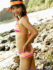 Beautiful Thai baby Tussinee in the brush bikini on the lakeshore raillery us