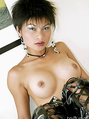 Erotic Thai beauty Tailynn strips from leather outfit