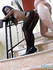 Small sized Thai babe Thainee gets some cock and gets a big facial
