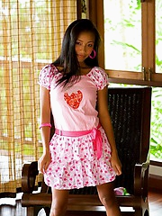 Little strawberry outfit with white cotten panties on Thainee