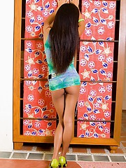 Little Thai babe Thainee in a ephemeral dress shows the brush tight pest