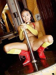 Tiny thai pornstar shows her pole skills beside her red unmentionables