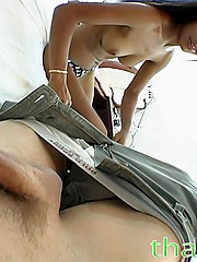 Hot petite Thai girl discovers a new way of having fun