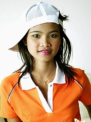 Cute Asian teen with a trucker hat looks hot!