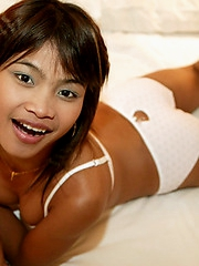 Innocent Asian nubile in cute underwear plays in bed