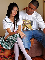 Marisol is so horny that she gets fucked without taking off her school uniform