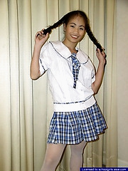 18 yo pigtailed schoolgirl striping to show her bald slit