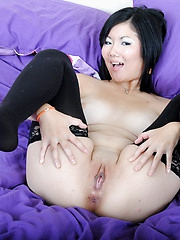 Chubby Chiyo proudly flashes her big boobies and spreads open her bald pussy