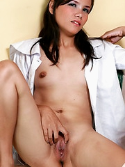 Cute girl stripping from her college uniform to show her hairless pussy