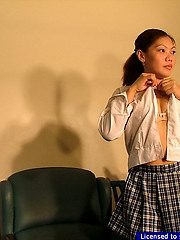 Lonely girls cascade her school uniform to toy her shaved pussy