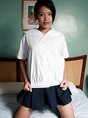 Cute and shy Josya strips from her school uniform to show her neat hairless slit