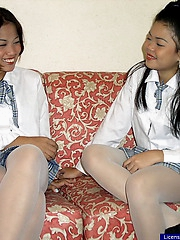 Two cute college girls fingering their juicy slits after school