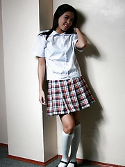Shy washed out skinned schoolgirl flashing tight her hairy muff