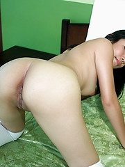 White skinned student dropping her knickers to play with the pearl of her perfect peach