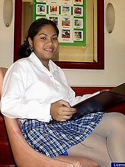 Schoolgirl with a black panty showing everything for a few bucks