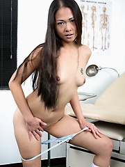 Cute Naomi undresses in a medical facility for a gynecological exam