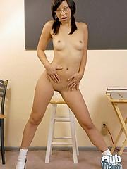 Sexy Sayuri spreading on a stool