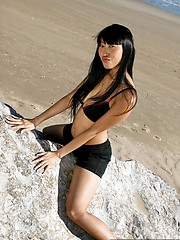 Sexy Sharon Lee nude atop a beach