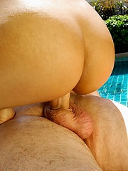 Poolside cumshot with Thai Nicha