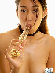 Jade Cheng with glass dildo