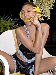 Thai Rowena sucking a banana
