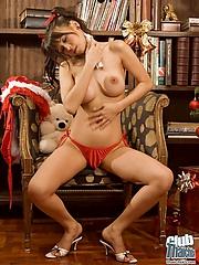 Christmas girl Mekumi with dildo
