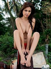 Busty Thai girl Miko posing
