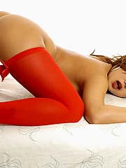 Thi Michelle in red stockings