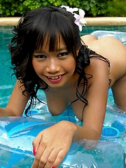 Thai Nicha nude in the pool