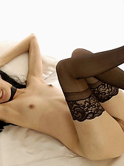 Willing Lystra in black stockings