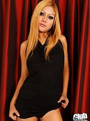 Blond Thai girl Linda stripping