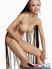 Pang haired Ange Venus stripping