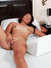 Hot Greta masturbating in bed