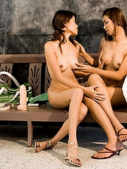 One dildo and three Thai babes
