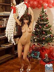 Thai Mekumi by the Christmas tree