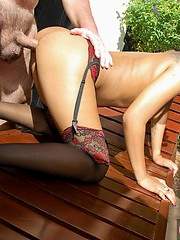 Kanda Kan riding cock by the pool