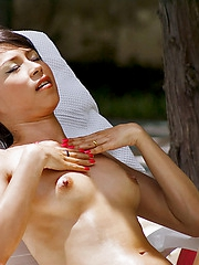 Petite Mekumi nude unconnected with the pool