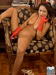 Thai babe Rowena nude in Santa hat