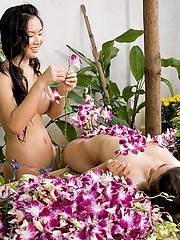 Thai Emiko and Soda nude in the garden