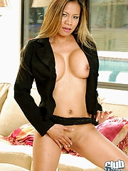 Mika Kani stripping black outfit
