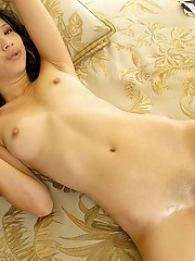 Shaved Sayuri spreading her juicy pussy
