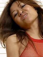 Jackie Lin with purple dildo