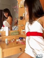 Thai model Jun infront of mirror