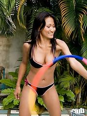 Thai girl Rowena topless hula hooping