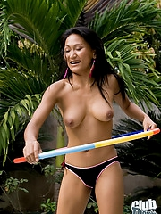 Thai girl Rowena topless hula hooping