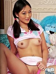 Cute Evelyu Lin with lolipop