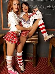 Three Thai girls in a classroom