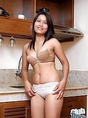 Thai amateur Kata nude in the kitchen