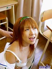 Asian tramp Akane looks forward to teasing the college guys on lunch break